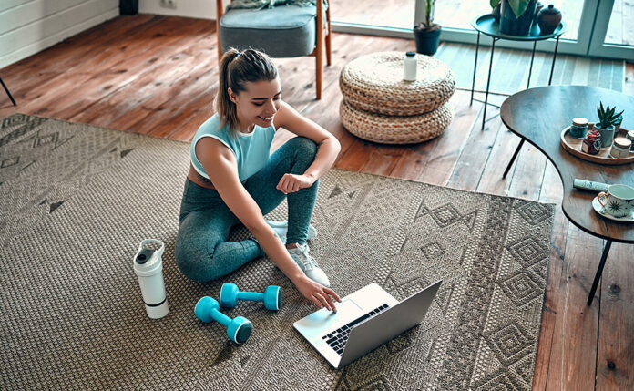 Woman training at home